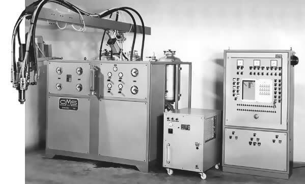 Erste Generation von Polyurethan-Dosiermaschinen unter dem Handelsnamen OMS