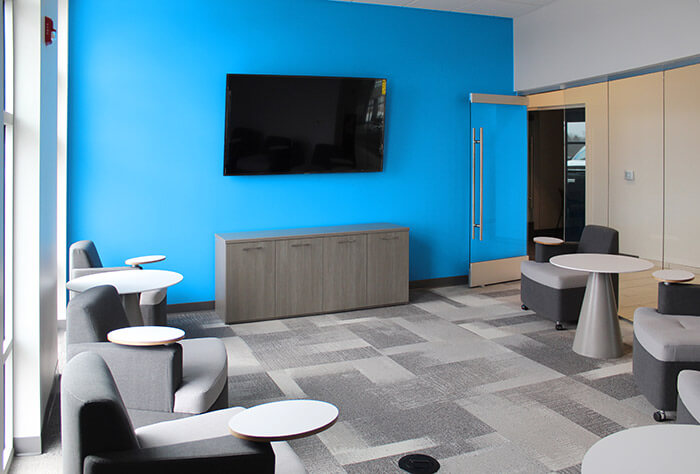 Office and conference rooms have been designed to promote collaboration and communication